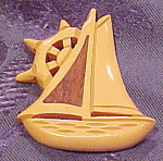 Butterscotch Bakelite ship brooch