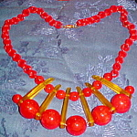 Red And Applejuice Bakelite necklace