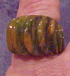 Marbled green and butterscotch Bakelite ring