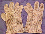 Tan and gold crocheted gloves