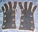 1930s - 1940s Black and pink gloves