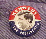 Click here to enlarge image and see more about item x6296: Kennedy for President button - JFK