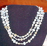 Click here to enlarge image and see more about item x6335: 3 strand opalescent bead necklace