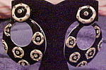 Click here to enlarge image and see more about item x6340: Black and White earrings with rhinestones