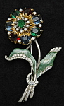 Click here to enlarge image and see more about item x6425: Enameled flower brooch