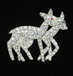 Double Deer rhinestone brooch