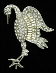 Click here to enlarge image and see more about item x6437: Rhinestone stork brooch