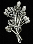 Click here to enlarge image and see more about item x6443: Artisan NY Art Deco Floral design brooch
