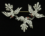 Click here to enlarge image and see more about item x6447: Triple bird brooch