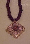 Victorian pendant on garnet necklace