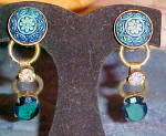 Click here to enlarge image and see more about item x6519: Czech revival molded glass earrings