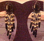 1980s black bead earrings