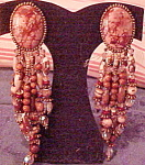 Click here to enlarge image and see more about item x6536: 1980s tan stone and crystal earrings