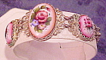 Click here to enlarge image and see more about item x6538: Filligree bracelet with porcelain