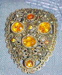 Dress clip with topaz rhinestones