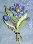 Flower brooch with enameling