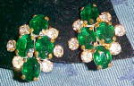 Green and clear rhinestone earrings