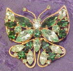 Click here to enlarge image and see more about item x6600: Rhinestone butterfly pin