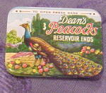 Click here to enlarge image and see more about item x6672: Dean's 3 Peacocks condom tin