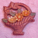 Wood and Lucite flower basket pin