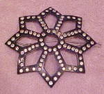 Celluloid barrette with rhinestones