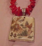 Coral necklace with bone pendant mermaid