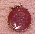 Click here to enlarge image and see more about item x7342: Carnelian intaglio with lady fob