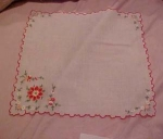 Handkerchief with edging and flowers