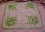 Handkerchief with green flowers & edging