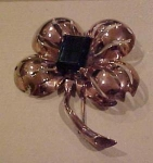 1940's Retro sterling vermeil flower brooch