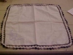Handkerchief with black crocheted edging