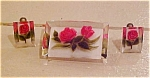 Gemtone lucite pin and earrings w/roses