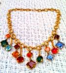 Czechoslovakian necklace with faceted glass