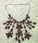 Click here to enlarge image and see more about item x9085: Floral Bib Style Necklace Purple