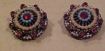 Art earrings w/faux pearls & rhinestones