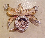 Enameled flower lily pin with rhinestones