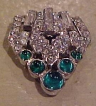 art deco dress clip w/rhinestones & cabachons