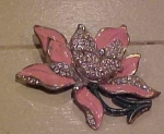 Flower pin with enameling & rhinestones