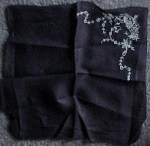 Black embroidered handkerchief with flowers