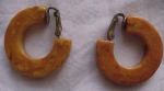 Butterscotch bakelite hoop earrings