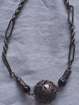 Czechoslovakian silvertone necklace with blac