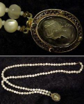 Click here to enlarge image and see more about item zq1605: Double strand bead necklace with cameo closure