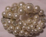 Faux pearl and crystal cuff