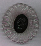 Carved lucite pin with cameo
