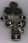 Pin with dangling glass beads