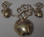 Sterling vermeil apple pin and earrings
