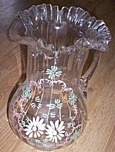 Victorian Lemonade Pitcher Enameled Flower (Image1)