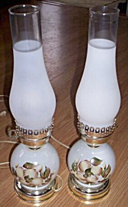 Pair Lovely Milk Glass Bed Lamps (Image1)