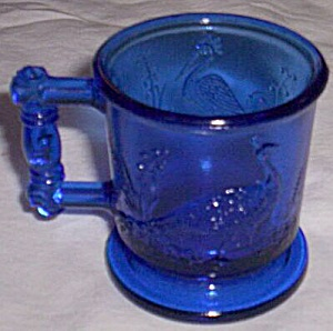 Boyd Cobalt Blue Child�s Cup Peacock and Heron (Image1)