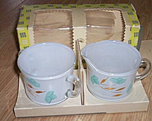 Blue Floral Gay Fad Cream & Sugar MIB (Image1)